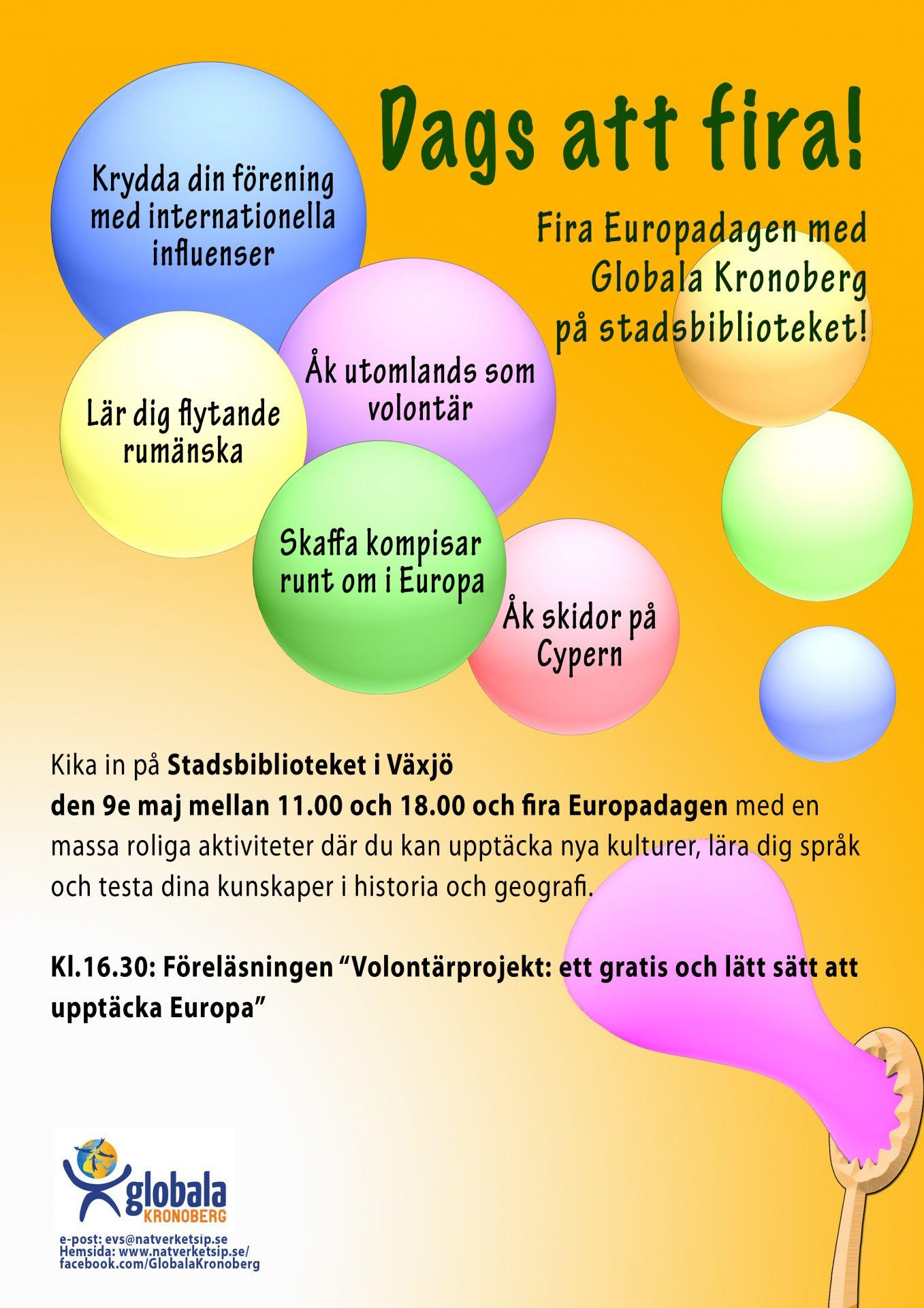 Diseño de un cartel para celebrar el día de Europa, en el que hay un pompero y pompas de jabón en las que hay información sobre el evento