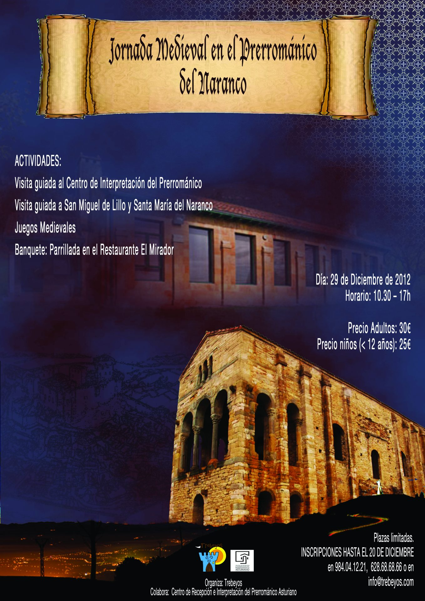 Poster anunciando una jornada medieval en el prerrománico asturiano. Aparece una imagen de Santa María del Naranco y del centro de interpretació